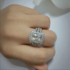 (Size 9) 10k gold engagement ring set
